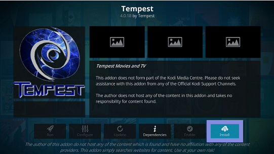 Download Tempest Kodi Addon On Leia